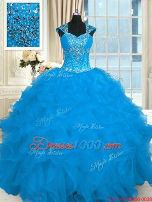 Aqua Blue Ball Gowns Straps Cap Sleeves Organza Floor Length Lace Up Beading and Ruffles Ball Gown Prom Dress