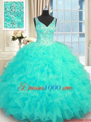 Aqua Blue Sleeveless Floor Length Beading and Ruffles Zipper 15 Quinceanera Dress