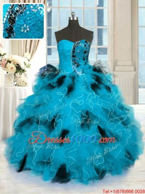 Sleeveless Tulle Floor Length Lace Up Sweet 16 Dresses in Blue And Black for with Beading and Ruffles