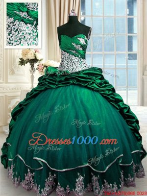 Fantastic Sleeveless Beading and Appliques and Pick Ups Lace Up Sweet 16 Dresses with Dark Green Brush Train