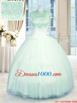 Strapless Sleeveless Quinceanera Dresses Floor Length Beading and Embroidery Yellow Green Organza