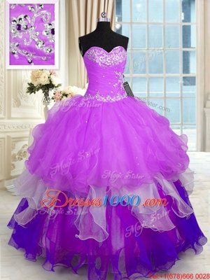 Hot Pink Tulle Lace Up Quinceanera Dresses Sleeveless Floor Length Beading and Ruffles