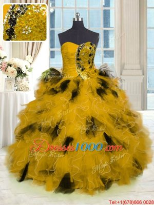 Gold Ball Gowns Tulle Strapless Sleeveless Beading and Ruffles Floor Length Lace Up Quinceanera Dresses