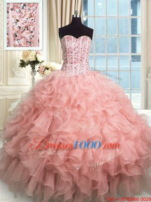 Pretty Sweetheart Sleeveless Organza 15th Birthday Dress Beading and Ruffles Lace Up