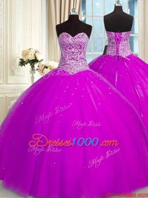 Edgy Sequins Sweetheart Sleeveless Lace Up Sweet 16 Dress Fuchsia Organza