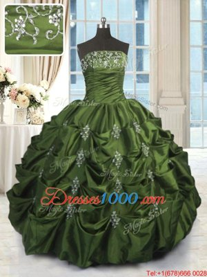 Discount Taffeta Sleeveless Floor Length Sweet 16 Quinceanera Dress and Beading and Pick Ups