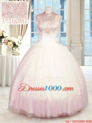 Baby Pink Sleeveless Tulle Zipper Quinceanera Gown for Military Ball and Sweet 16 and Quinceanera