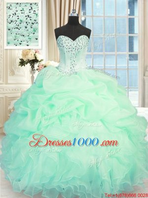 Best Apple Green Lace Up Sweetheart Beading and Ruffles Quinceanera Dress Organza Sleeveless