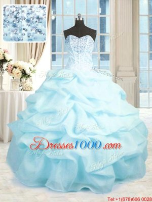 Glorious Baby Blue Sleeveless Organza Lace Up Quinceanera Dresses for Military Ball and Sweet 16 and Quinceanera