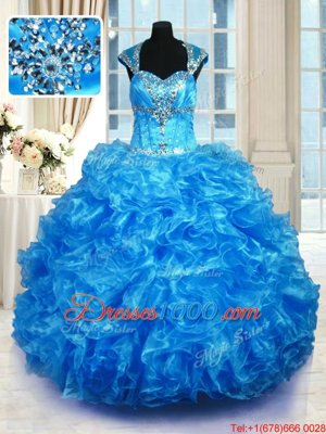 Cap Sleeves Lace Up Floor Length Beading and Ruffles Sweet 16 Dresses