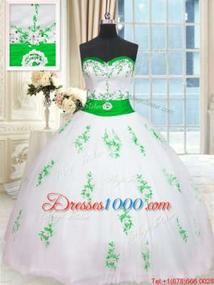 Sumptuous White Quinceanera Gowns Military Ball and Sweet 16 and Quinceanera and For with Appliques and Belt Sweetheart Sleeveless Lace Up