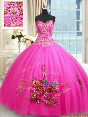 Tulle Sleeveless Floor Length Quinceanera Dress and Embroidery