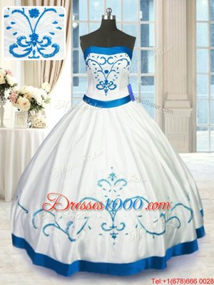Charming White Lace Up Strapless Beading and Embroidery Quinceanera Gowns Satin Sleeveless