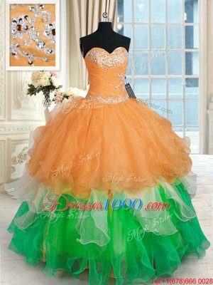 Sweet 16 Dresses Military Ball and Sweet 16 and Quinceanera and For with Beading and Ruffles Sweetheart Sleeveless Lace Up