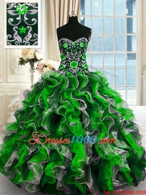 Top Selling Multi-color Sweetheart Lace Up Beading and Ruffles Quinceanera Gown Sleeveless
