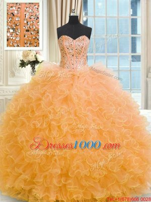Graceful Floor Length Ball Gowns Sleeveless Orange Ball Gown Prom Dress Lace Up