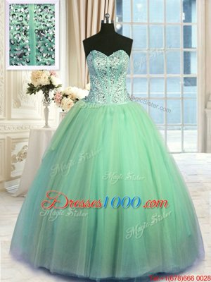 Inexpensive Turquoise Lace Up Quinceanera Gowns Beading and Ruching Sleeveless Floor Length