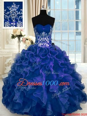 Sleeveless Organza Floor Length Lace Up Quinceanera Gowns in Navy Blue for with Beading and Appliques and Ruffles