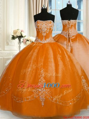Cute Floor Length Rust Red Quinceanera Gown Organza Sleeveless Beading and Embroidery