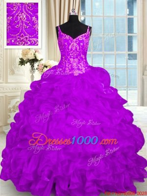 Lace Up Sweet 16 Dress Purple and In for Military Ball and Sweet 16 and Quinceanera with Beading and Embroidery and Ruffles Brush Train