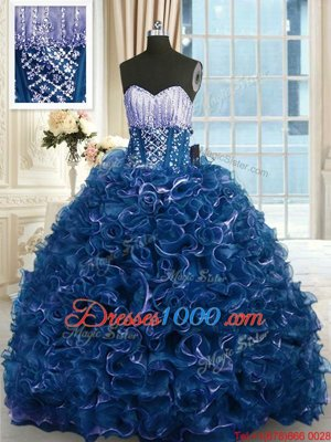 Sleeveless Floor Length Beading and Appliques and Ruffles Lace Up Vestidos de Quinceanera with Lilac