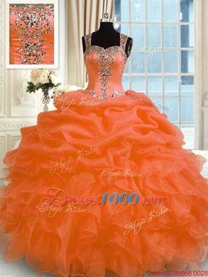 Orange Red Organza Zipper Quinceanera Gown Sleeveless Floor Length Appliques