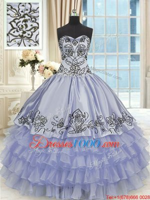 Purple Sleeveless Beading and Embroidery and Ruffled Layers Floor Length Quinceanera Gowns