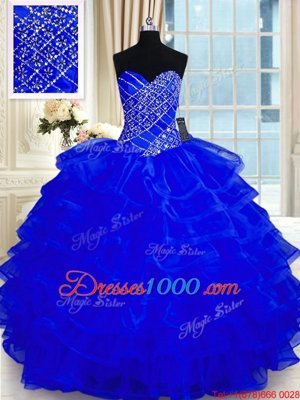 Cheap Beading and Ruffled Layers Sweet 16 Quinceanera Dress Royal Blue Lace Up Sleeveless Floor Length