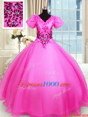 Fancy Ball Gowns Quinceanera Gown Hot Pink V-neck Organza Short Sleeves Floor Length Lace Up