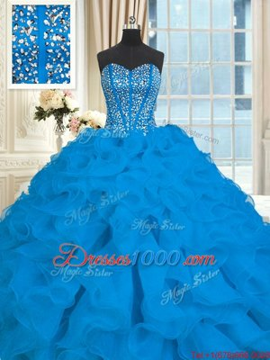 With Train Blue Quinceanera Dresses Organza Brush Train Sleeveless Beading and Ruffles