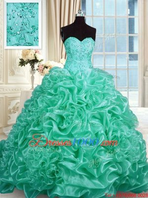 Excellent Pick Ups Ball Gowns Sweet 16 Quinceanera Dress Turquoise Sweetheart Organza Sleeveless With Train Lace Up