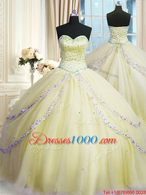 Sweetheart Sleeveless Court Train Lace Up Quinceanera Dresses Light Yellow Organza