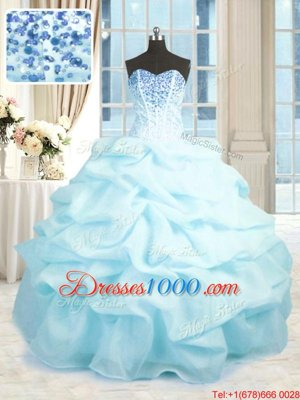Decent Floor Length Lace Up Sweet 16 Quinceanera Dress Baby Pink and In for Military Ball and Sweet 16 and Quinceanera with Beading and Ruffles