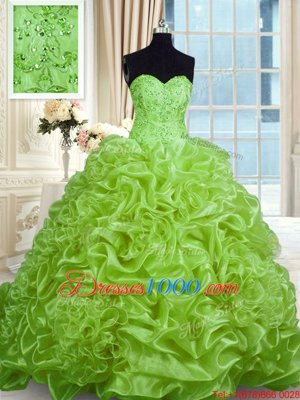 Modern Sleeveless Sweep Train Beading and Pick Ups With Train Quinceanera Gown