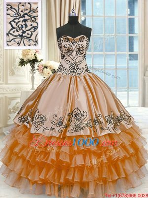 Multi-color Lace Up Sweetheart Beading and Ruffles Quince Ball Gowns Organza Sleeveless