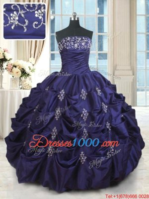 Dramatic Floor Length Lace Up Sweet 16 Quinceanera Dress Dark Purple and In for Military Ball and Sweet 16 and Quinceanera with Beading and Appliques and Embroidery and Pick Ups