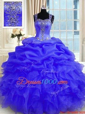 Sophisticated Purple Straps Neckline Beading and Ruffles Vestidos de Quinceanera Sleeveless Zipper
