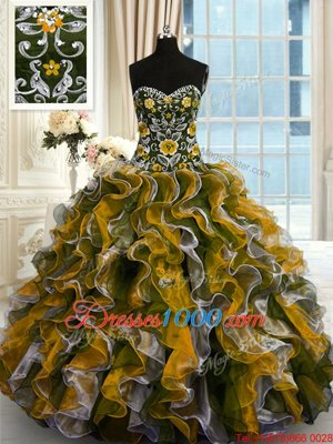 Attractive Multi-color Ball Gowns Organza Sweetheart Sleeveless Beading and Ruffles Floor Length Lace Up 15th Birthday Dress