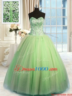 Clearance Yellow Green Sleeveless Floor Length Beading and Ruching Lace Up Sweet 16 Dress