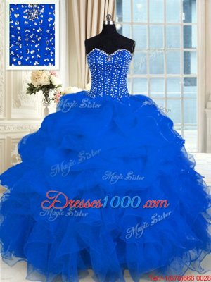 Sweetheart Sleeveless Organza Vestidos de Quinceanera Beading and Ruffles Lace Up