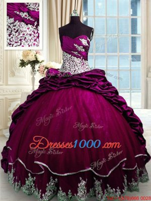Modest Sweetheart Sleeveless Taffeta Ball Gown Prom Dress Beading and Appliques and Pick Ups Brush Train Lace Up