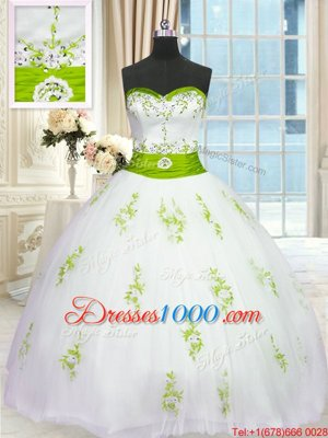 Cheap Ball Gowns Quinceanera Gown Strapless Tulle Sleeveless Floor Length Lace Up