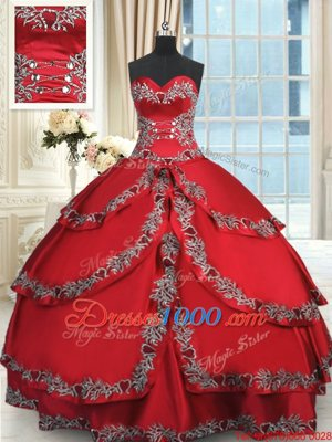 Admirable Wine Red Sleeveless Beading and Embroidery and Ruffled Layers Floor Length Ball Gown Prom Dress