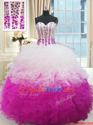 Beautiful Multi-color Sleeveless Beading and Ruffles Floor Length Quinceanera Gowns