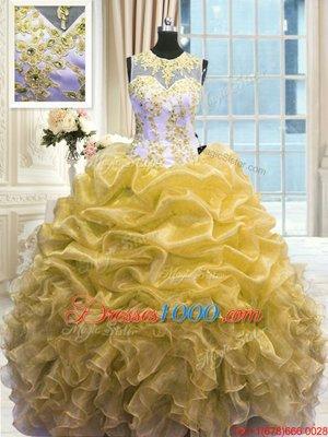 High Quality Scoop Floor Length Ball Gowns Sleeveless Gold Quince Ball Gowns Zipper
