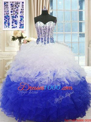 Spectacular Sweetheart Sleeveless Sweet 16 Dresses Floor Length Beading and Ruffles Blue And White Organza
