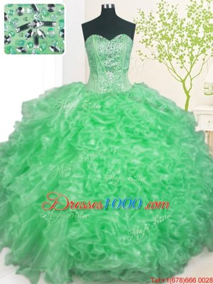 Eye-catching Turquoise Lace Up Sweetheart Beading and Ruffles Quinceanera Gown Organza Sleeveless