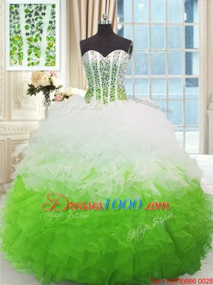 High Class Ball Gowns Quinceanera Dresses Multi-color Sweetheart Organza Sleeveless High Low Lace Up
