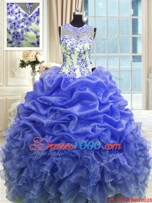 Attractive Scoop Sleeveless Organza Floor Length Zipper Quinceanera Dress in Blue for with Beading and Ruffles