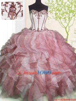 Sleeveless Floor Length Ruffles Lace Up Quinceanera Gowns with Pink And White